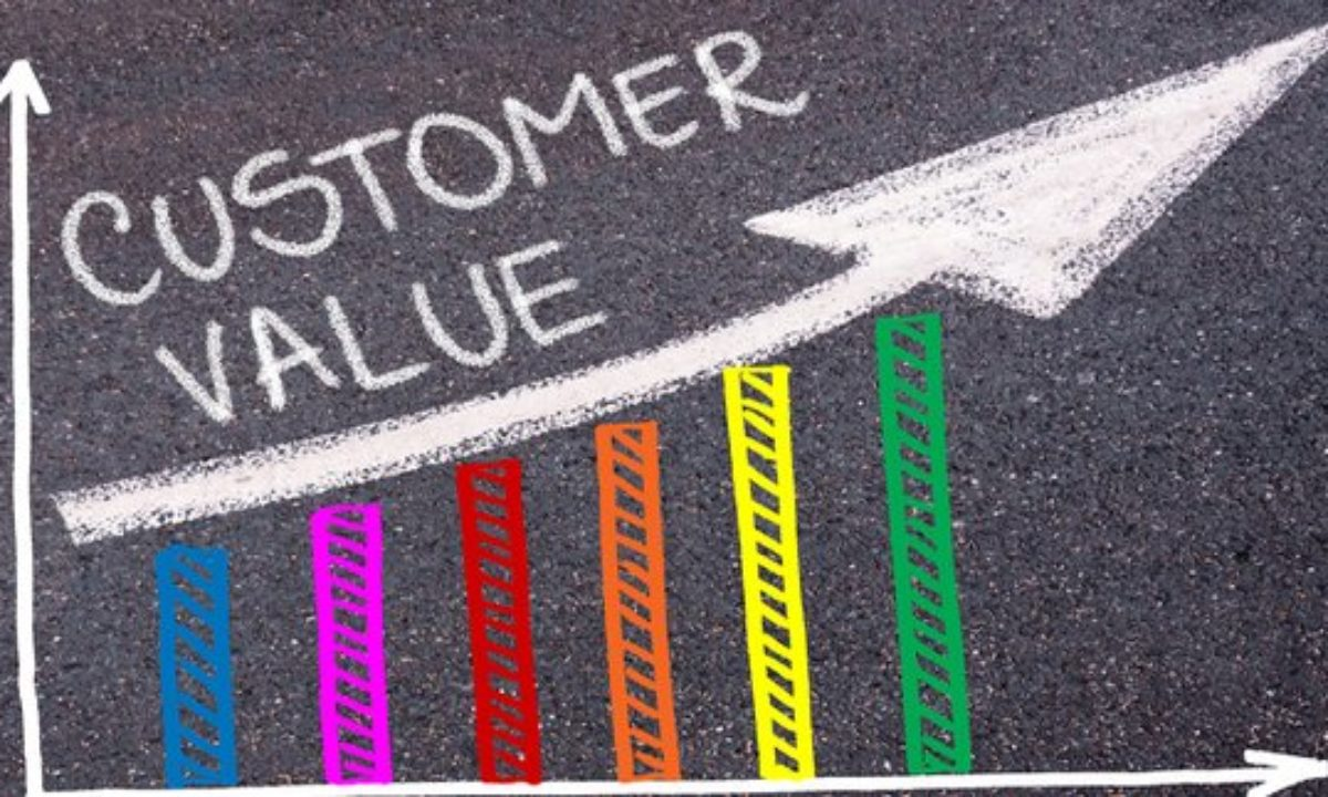 Stock photo of chalk drawing on ground of increasing customer value over time
